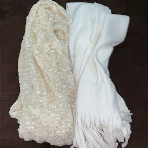 TWO CREAM COLORED SCARVES